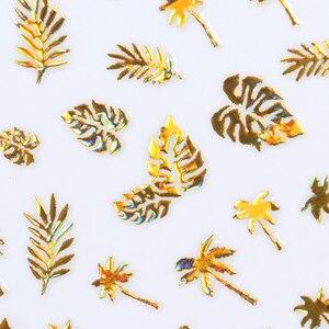 Image 3 - 1 גיליון זהב 3D נייל מדבקת קוקוס עץ עלה Holo פרח לייזר דבק מדבקות מדבקת נייל אמנות מדבקות