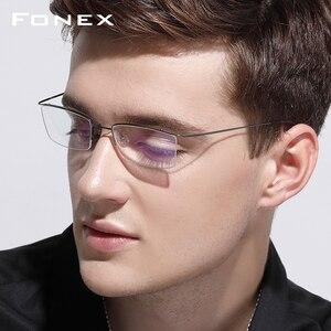 Image 2 - FONEX ไทเทเนียมกรอบแว่นตาผู้ชายชายแว่นตาผู้หญิงสายตาสั้นกรอบแว่นตาไร้สาย