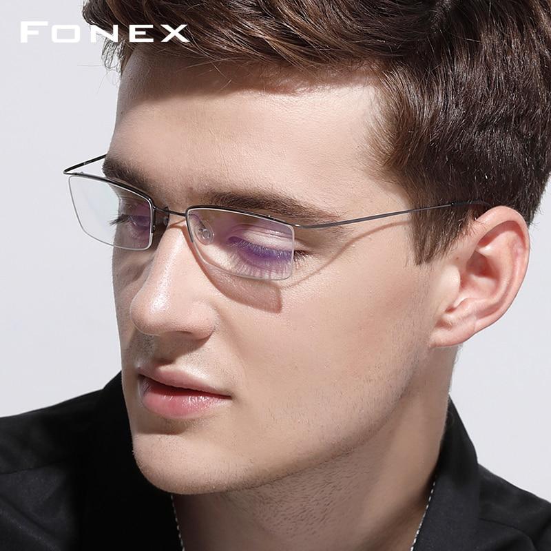 Image 2 - Titanium Alloy Glasses Frame Men Ultralight Male Prescription Eyeglasses Women Half Rim Myopia Optical Frame Screwless Eyewear-in Men's Eyewear Frames from Apparel Accessories