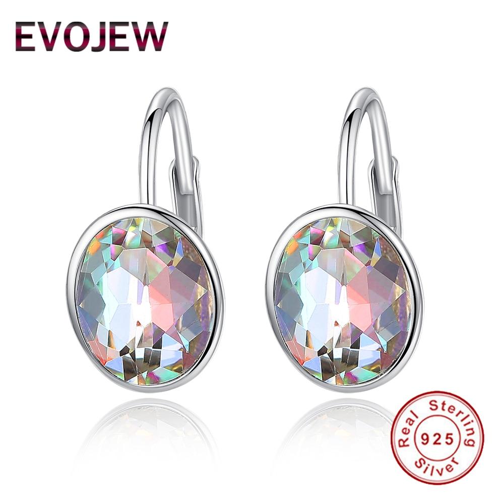 Evojew Brand Design Brilliant Austria Crystal Hoop Earrings Women Authentic 925 Sterling Silver Round Earring Fashion Jewelry