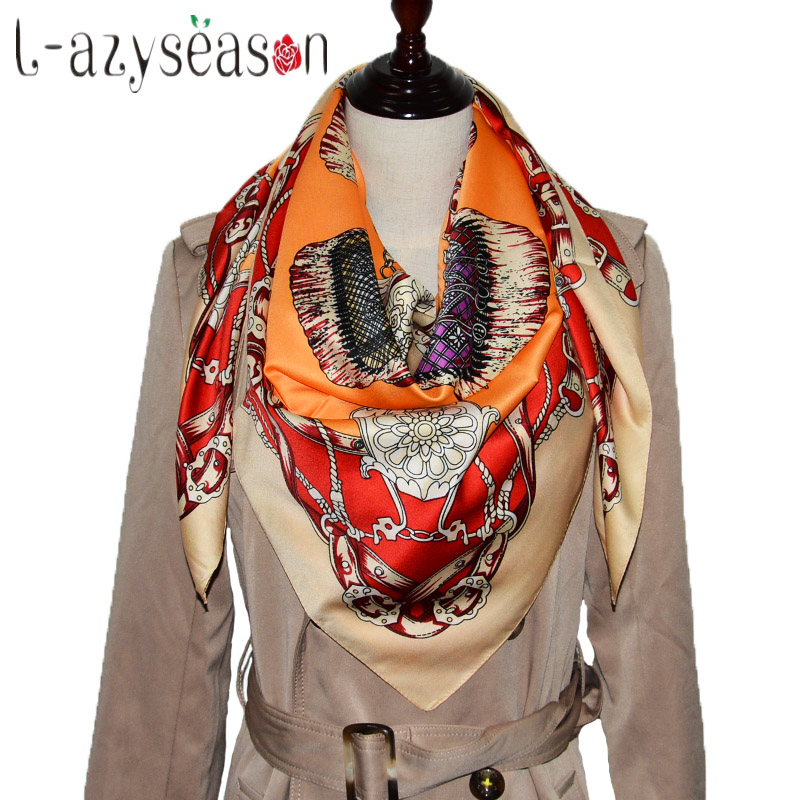 2018 Newest bandana big size 100X100 CM High Quality Summer Silk   Scarf   Women Print Stole Fashion Ladies Shawl   Scarves     wraps