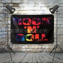 """ROCK N' ROLL "" Large Rock Flag Banners Four-Hole Wall Hanging Painting Bedroom Studio Party Music Festival Background Decor(China)"
