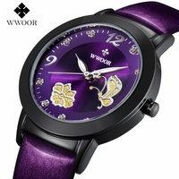 Women Watches Luxury Brand WWOOR Waterproof Leather Date Luminous Analog Quartz Watch Ladies Dress Wristwatch Relogio