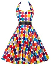 2018 Spring Women's Vintage 50s 60s Hepburn Wind Evening Party Colorful Polka Dot Dress Vestido De Festa