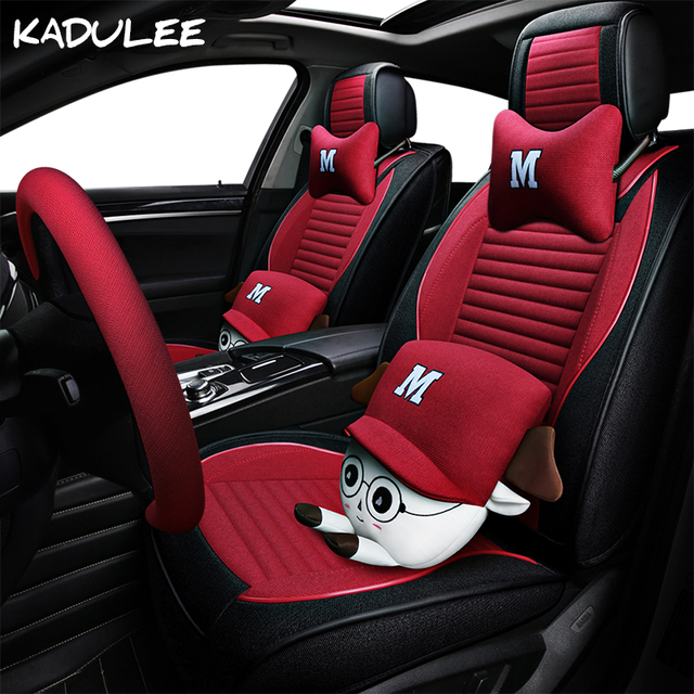KADULEE Flax Auto Car Seat Covers For Opel Vectra B C Mercedes W124 Smart Fortwo Suzuki Grand