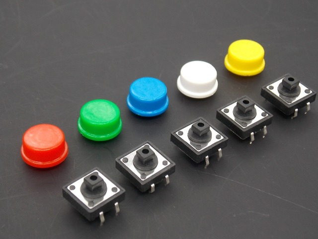 20PCS Tactile Push Button Switch Momentary 12*12*7.3MM Micro switch button + (20PCS 5 colors Tact Cap)