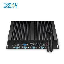 XCY безвентиляторный Мини-ПК с двойной Gigabit LAN 4 последовательного com Порты 8 USB HDMI VGA Intel Celeron 1037U 1017U Оконные рамы 10 Linux