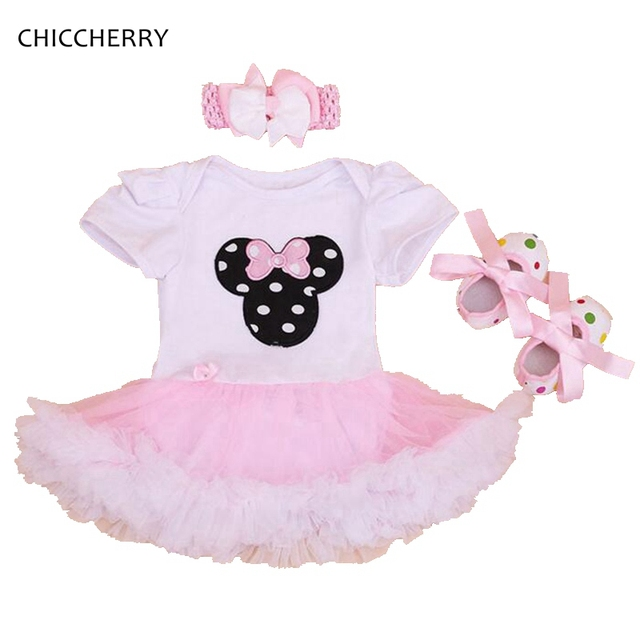 Minnie Infant Lace Dresses Newborn Tutu Sets with Headband Shoes 1st Birthday Romper Dress Vestido Infantil Toddler Outfits