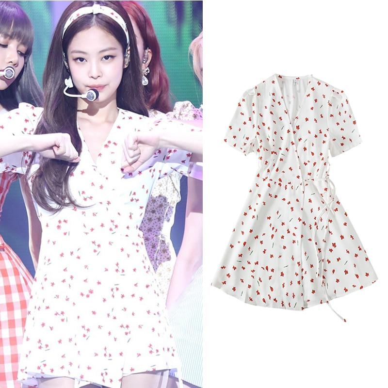 Kpop BLACKPINK JENNIE Summer Fresh And Sweet Dress Women Fashion Short Sleeve Harajuku Flower Print Dresses Female Kawaii Tops