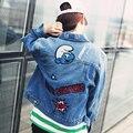 Casual Mujeres Chaqueta de Jeans de Moda Lentejuelas Bordado Otoño Abrigo Corto Loose Jeans Azul Fresco Outwear Chaqueta de Mezclilla Chica