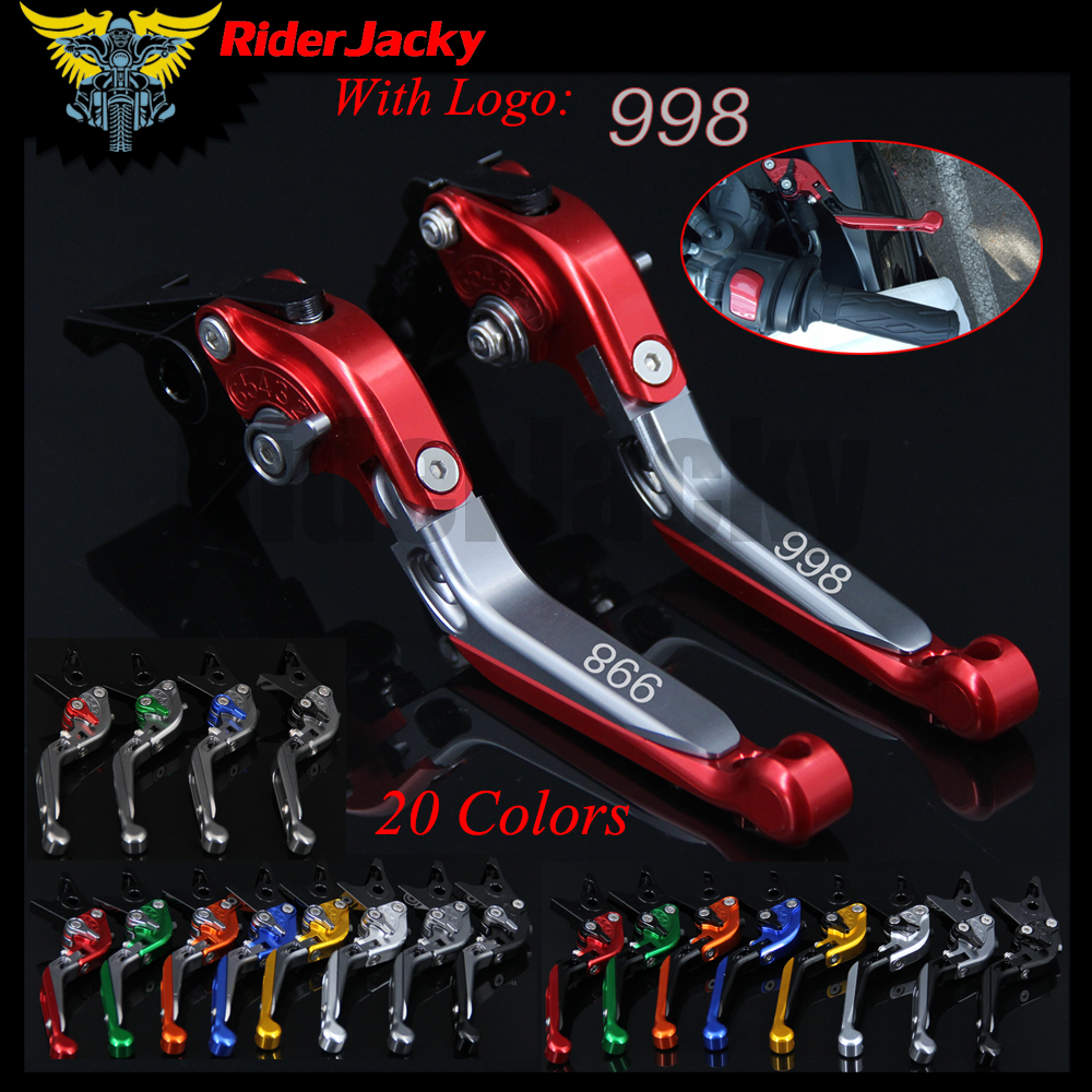 RiderJacky LOGO 998 Motorcycle CNC Brake Clutch Levers For Ducati 998/B/S/R 1999-2003 2001 2002 Adjustable Extendable Foldable