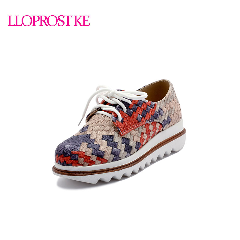 где купить LLOPROST KE Women Flat Shoes Comfortable Shoes Mixed Color High Quality Braided PU Breathable Shoes Women Size 33-42 GL017 по лучшей цене