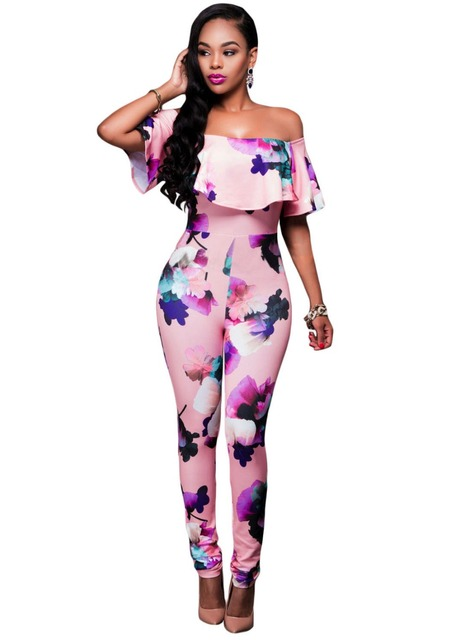 Cute Slash Neck Short Sleeve Pink Floral Off Shoulder Jumpsuit long LC64191 Print macacao feminino new 2017 plus size overalls