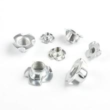 10pcs/lot M3 M4 M5 M6 M8 M10 Zinc Plated Four Claws Nut Speaker Nut T nut Blind Pronged Tee Nut Furniture Hardware