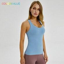 Colorvalue Plain Racerback Yoga Sport Vest Women Slim Fit Flexible Fitness Athletic Tank Tops Soft Nylon Gym Sleeveless Shirts