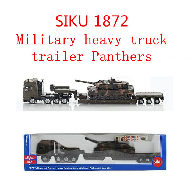 1:87  alloy military model, SIKU 1872 heavy truck trailer Panthers, high metal casting simulation pull back toys, ,free shipping
