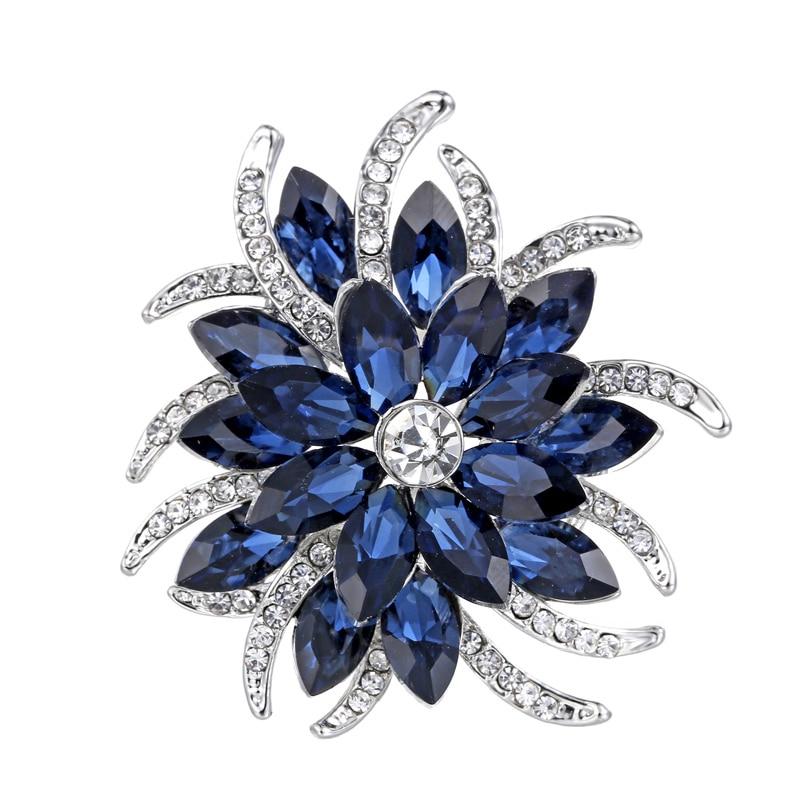 Брошь с кристаллами заколки женские фиолетовые цветочные броши ювелирные изделия из нержавеющей стали модная брошь для свадебного торжества модные ювелирные изделия