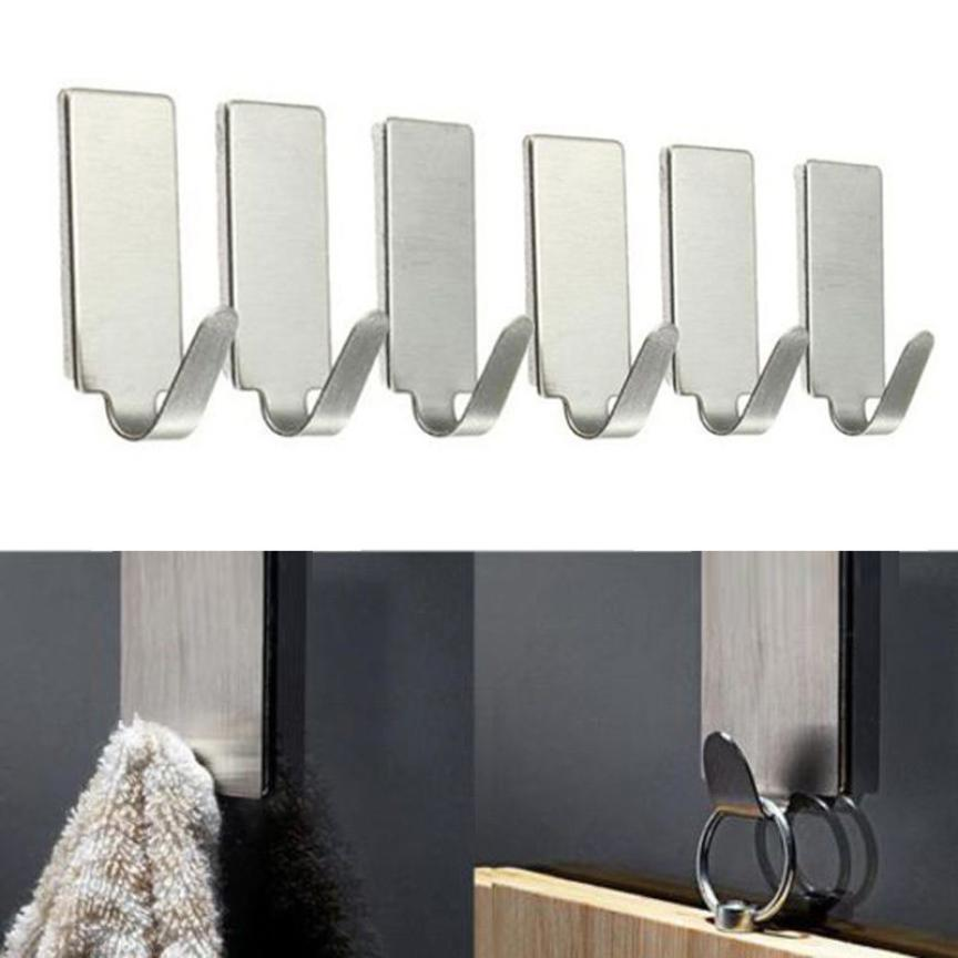 6PCS Self Adhesive Home Kitchen Wall Door Stainless Steel Holder Hook Housekeeping Wall Hanger Bathroom Accessories Silver #A
