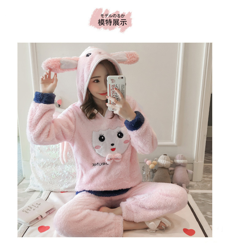 Winter Women Pajama Flannel Sleepwear Long Sleeves Hot Pajamas For Women Velvet Pajama Women Soft Clothing 87