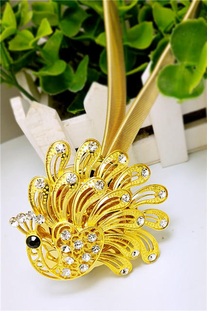 Home Decorative Accessories Curtain Tie Rings Magnetic golden Crystal peacock Stainless steel Spring wire Buckles 2pc/lot