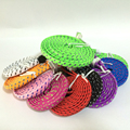 3 6.5 10FT 1M 2M 3M  Braided Fabric Wire for iPhone4 4s Noodle Flat 30pin USB Date Sync Nylon Woven Charging cable Cords