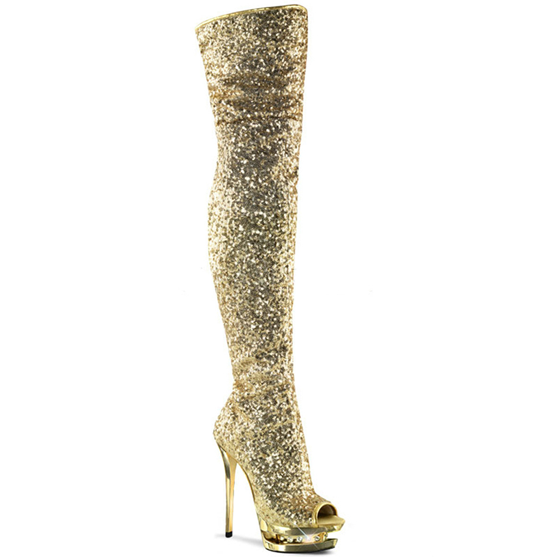 Boots Women Shoes 15cm High Heels Thigh Long Boots Fashion Glitter Boots  Over Knee Fenty Beauty 083beabb35ae