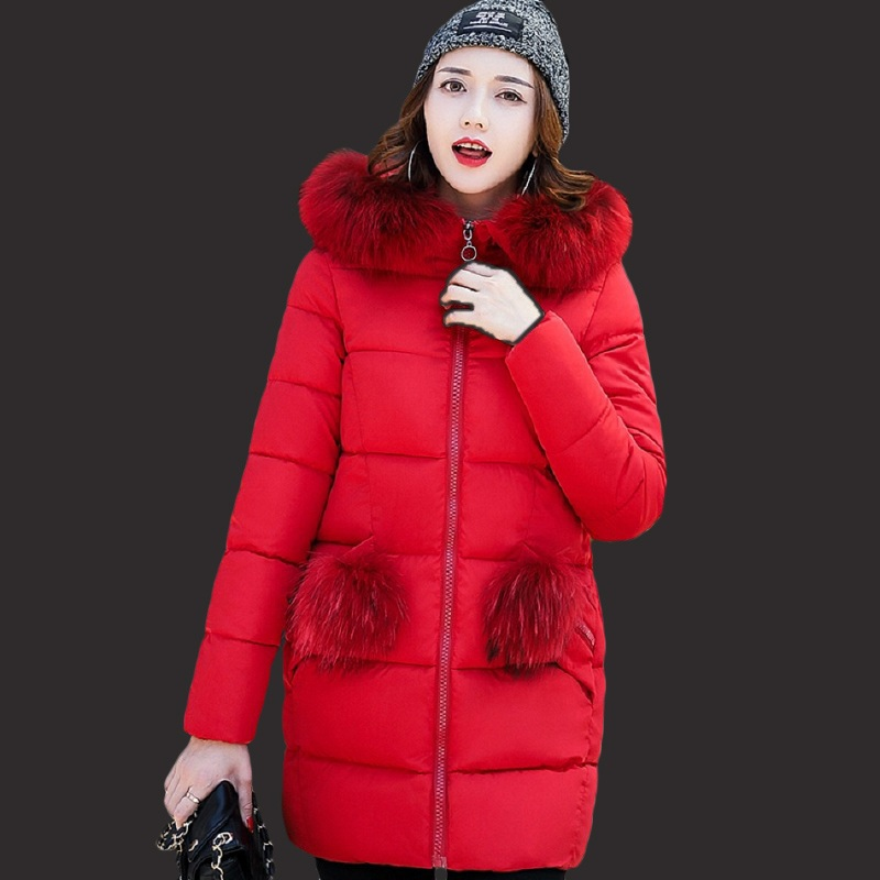 Women winter coats 2017 new fur collar female jacket fashion in the long section of the feather was thin winter jacket women 2017 new winter women winter women in the long section of thick cotton coat fur collar jacket cold winter jacket size m xxl