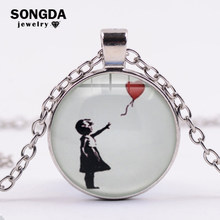 SONGDA-collar con un globo para chica, grafiti callejero, pintura famosa Banksy, cabujón de cristal, cadena de gemas, joyería artística