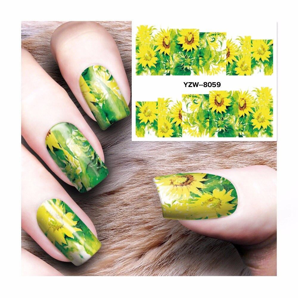 ZKO 1 Sheet Watermark Stickers Nail Art Water Transfer Tips Decals Beauty Temporary Tattoos Tools 8059