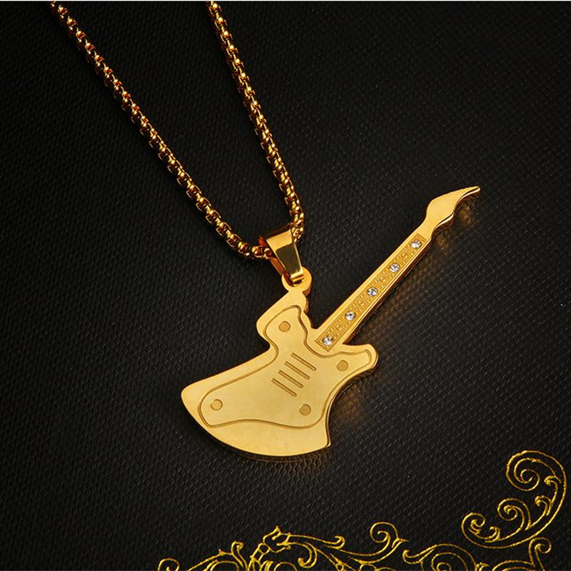 Stainless <font><b>Steel</b></font> Rock Electric <font><b>Guitar</b></font> Pendant <font><b>Necklace</b></font> Gold/Silver Plated Musical Men and Women <font><b>Titanium</b></font> Hip-pop Jewelry, LP1300 image