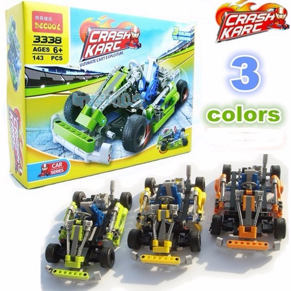 17cm143pcstechnic crash kart diy popkart model car toys building blocks assembly bricks