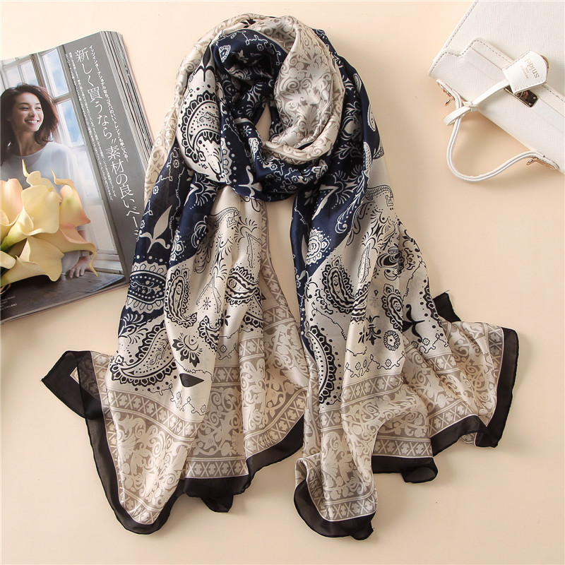 Vintage 2020 Summer Women Scarf Soft Long Size Thin Lady Pashmina Silk Shawls And Wraps Sunscreen Beach Silk Scarves Bandana