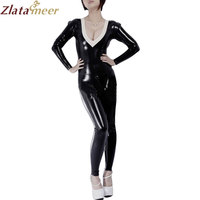 Women Rubber Jumpsuit V neck Sexy Latex Catsuit Black Zentai Suit Plus Size One piece Fetish Bodysuit LC052