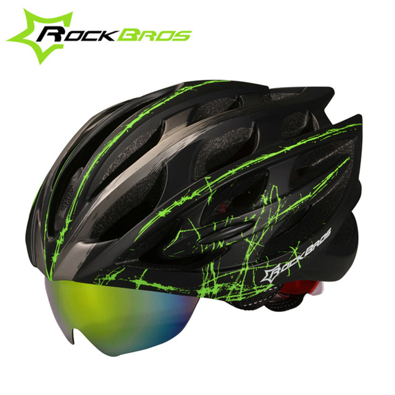 ROCKBROS Bicycle Helmet With Glasses Integrally-molded Casco Ciclismo Unisex Goggles Design 3 Lens 2 Colors WT-055 topeak outdoor sports cycling photochromic sun glasses bicycle sunglasses mtb nxt lenses glasses eyewear goggles 3 colors