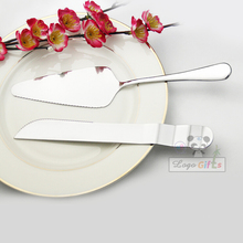 HOT Personalized wedding Favors cake set custom FREE With your date and names 1pc Cake shovel +1pc knife