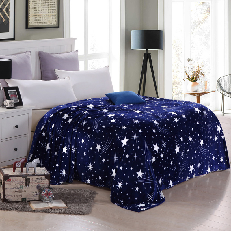 Bright Star Fleece Blankets on the Bed/<font><b>Sofa</b></font>/Travel Soft Warm Throw Blankets King Queen Full Twin Adult Sleeping Blanket Brand