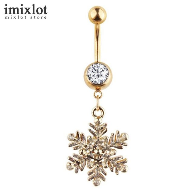 Imixlot Rhonestone Flower Pendant Belly Piercing Ring Stainless Steel  Snowflake Belly Button Rings Navel Piercing Jewelry 394e170525d7
