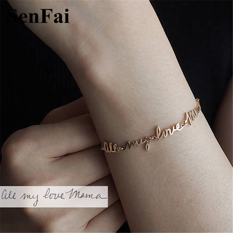 Senfai 2018 Name Bracelets for women men Custom Personalize Gold Silver Letter Unice Unicorn Cufff Wicca Bracelet Bangle Jewelry ...
