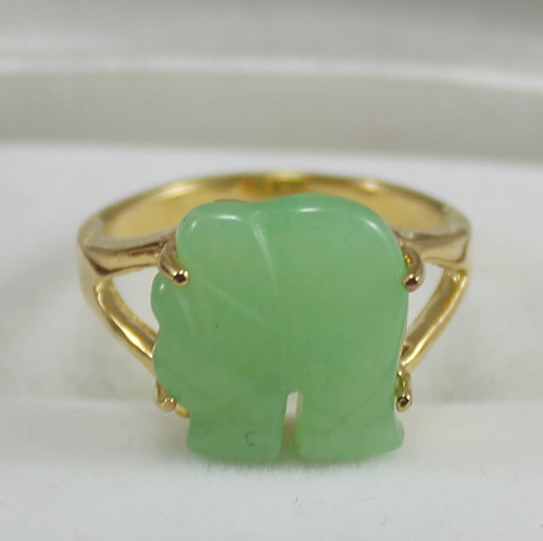 Noble! Yellow GP elephant Shaped Green Jades Jewelry womens Ring