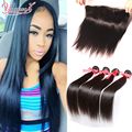 Indian Virgin Hair With Closure Indian Lace Frontal Closure With Bundles Straight Hair 3 Bundles With Lace Frontal Closure 13x4
