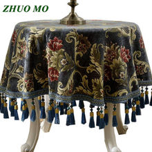ZHUO MO Luxury Embroidery table cloth round With Tassel for home Party Banquet Hotel Restaurant Wedding Decor square Table