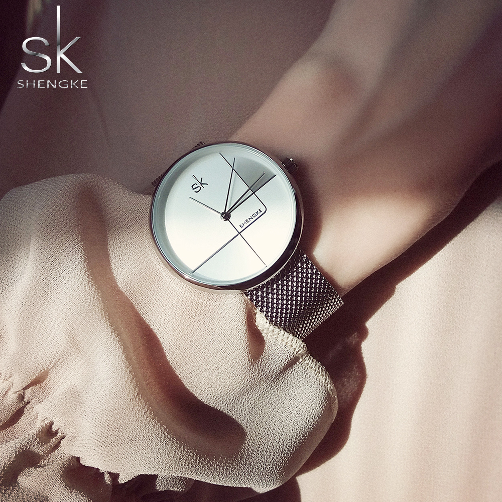 Shengke Fashion Gold Women Watches Creative Dial Quartz Japanese Move Mesh Strap Zegarek Damski Luxury Accessories Wristwatches