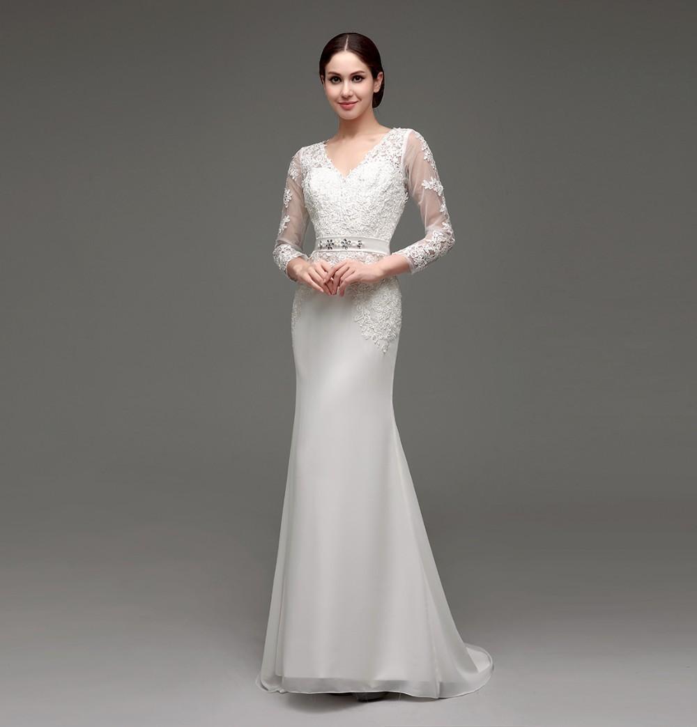 Long Sleeve Sheath Lace Appliqued Bridal Dress 1