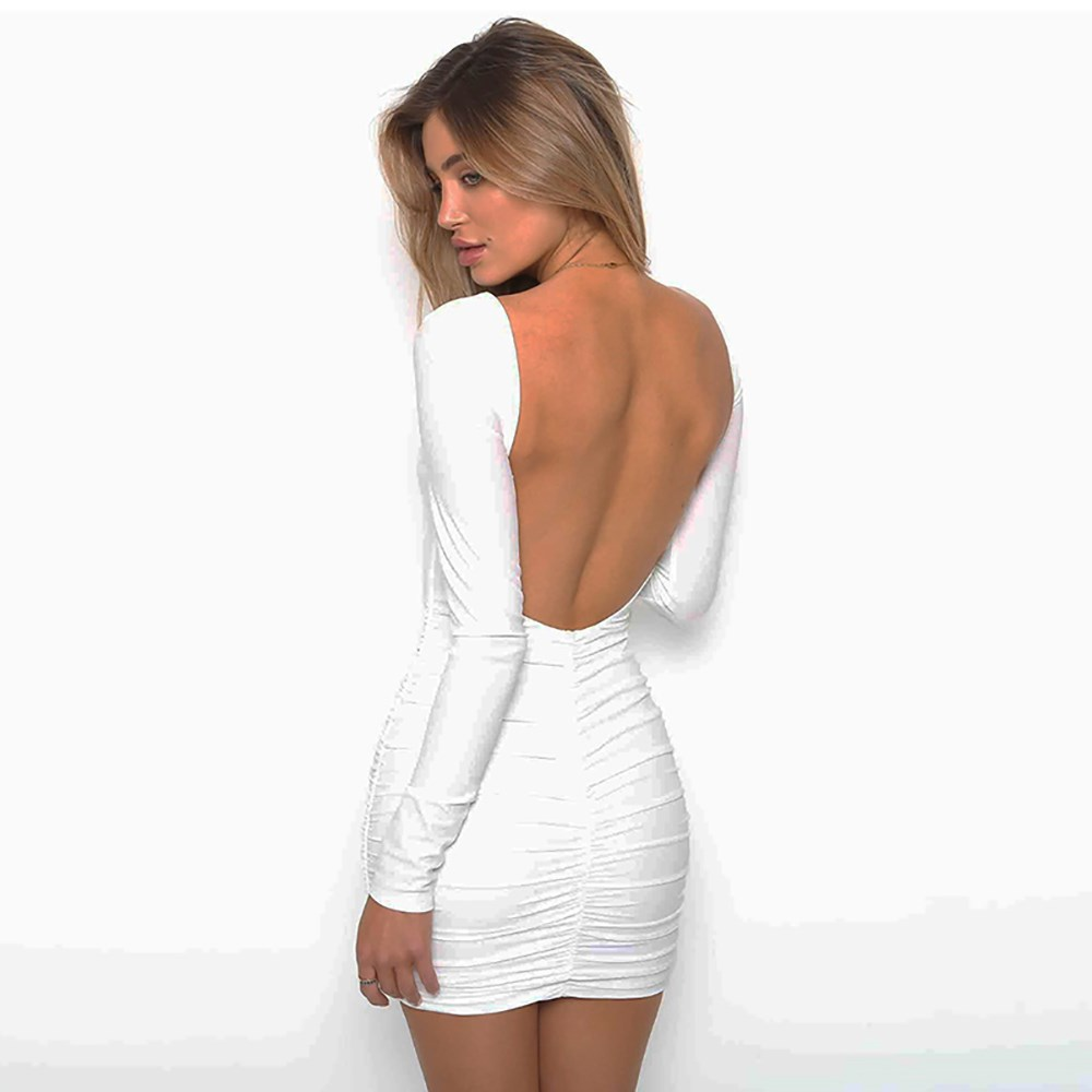Women's fashion tight sexy party dresses nightclub dresses stand collar backless dress white