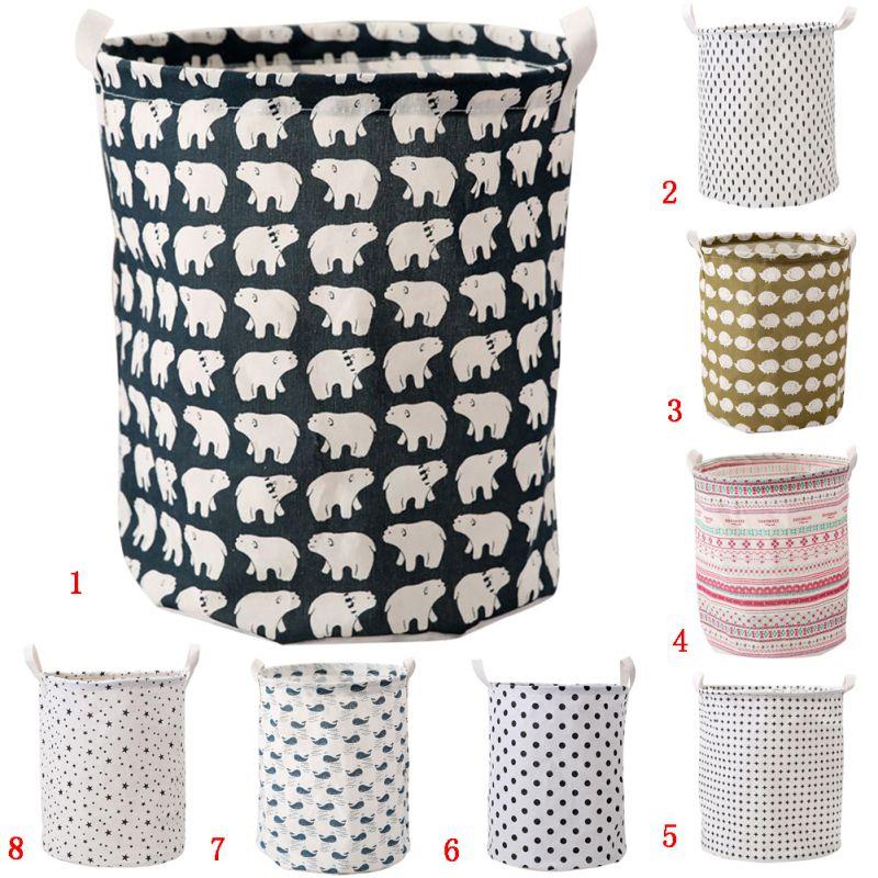 Inicio lindo patrón de lavandería tela plegable cesta de ...