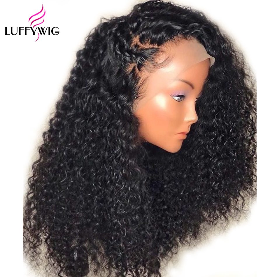 LUFFYHAIR Curly Brazilian Remy Hair Lace Front Wig 13x6 Deep Parting Lace Wig 150% Density Pre Plucked Hairline Bleached Knots