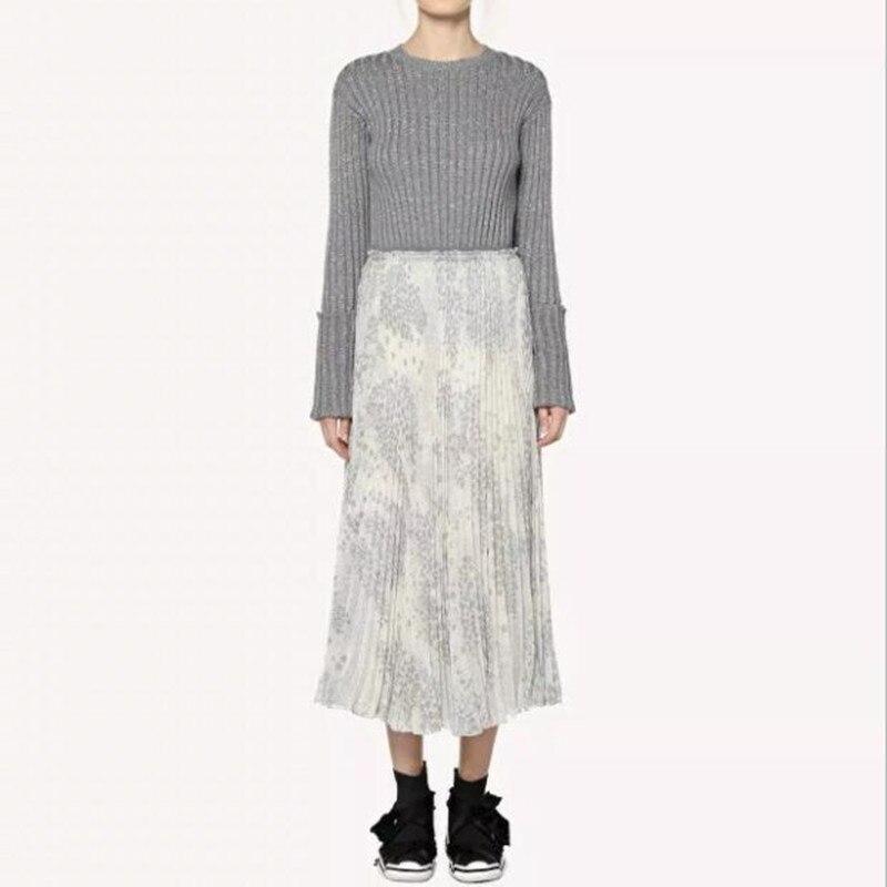 2019 New Women Star Printed Elastic Waist Pleated Midi Skirt