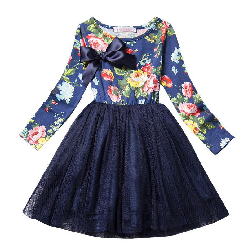 Trendy Floral Print Princess Dresses for Girls Baby Long Sleeve Clothes Tutu Party Flower Girl Dress Children Kids Baby Clothing