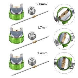 Image 5 - G2008 Professionelle HVLP 600ML 1.4/1.7/2,0mm Düse Schwerkraft Pneumatische Luft Farbe Spay Gun Für Auto auto Reparatur Werkzeug Malerei Kit