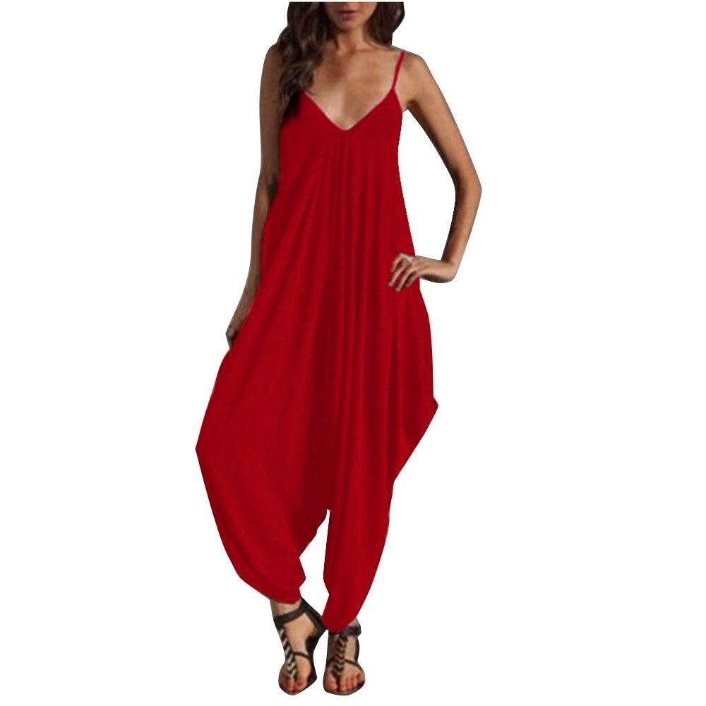 Fashion Women Camisole Jumpsuit Summer V-Neck Loose Casual Playsuit Ladies Elegant Long Jumpsuits Womens Romper Trousers #Zer